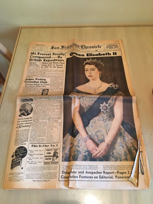 QUEEN ELIZABETH II CORONATION San Francisco Chronicle June 2, 1953 Newspaper