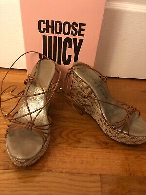 Juicy Couture Crochet Cork Wedge Wrap Up Platform Sandals 8.5 Made In Italy Cork Wrap Wedge