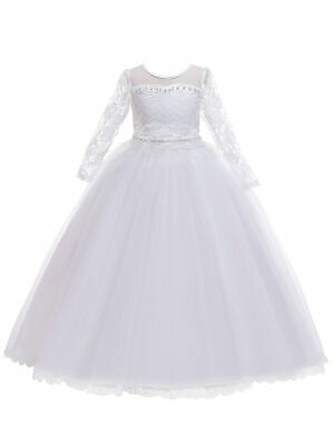 Long Sleeve Communion Dress (Rainkids Big Girls White Lace Tulle Long Sleeve Sash Communion Dress)