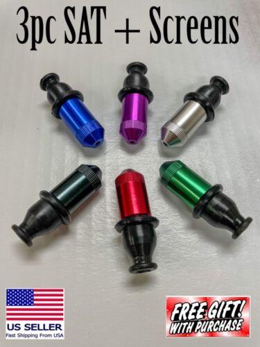 3x SAT Tobacco Pipe Sneak a Toke Metal Bullet Smoking Taster Bowl & FREE SCREENS
