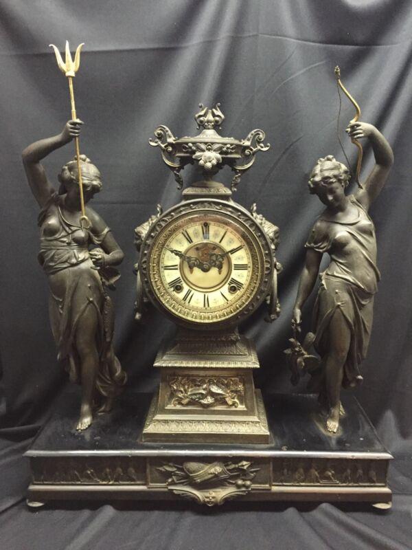 Antique Ansonia Bronze Finish Hunter & Fisher Mantel Clock 19th Century