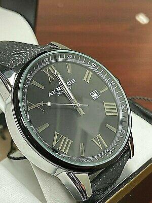 NEW Akribos XXIV Men's Casual Quartz Watch with Leather Strap - Grey AK1048