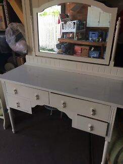 White vintage dressing table with mirror