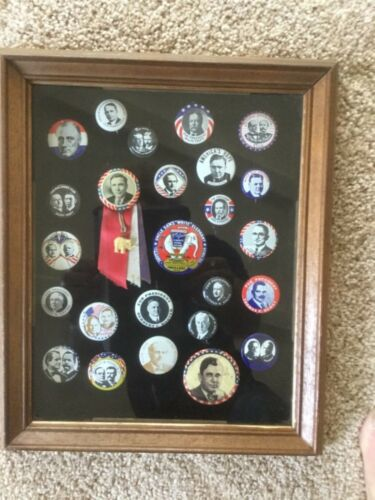 Vintage political buttons/pins in oak shadow box display
