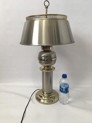 Vintage Bouillotte Silver Tole Metal Brass Chrome Table Lamp Modern Column -