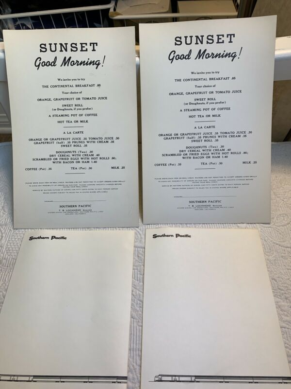 "Vintage SOUTHERN PACIFIC Railroad 2 Train Menu (9.5"" x 6"")  & 2 Stationary"