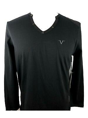 New VERSACE V NECK V Logo SHIRT T-SHIRT ITALIA Long Sleeve Mens Black Large