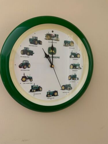"John Deere Tractor 13"" Battery Wall Clock  Tractor Sound On The Hour + art decor"