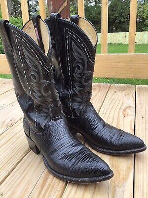 Men's Dan Post Black Lizard Western Cowboy Boots 11.5 B Black Lizard Cowboy Boots