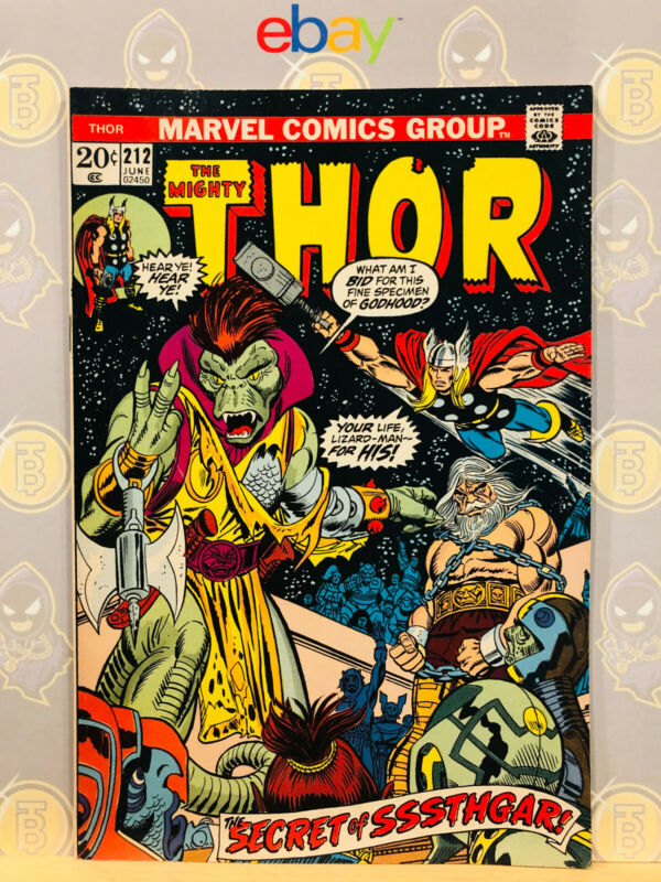 The Mighty Thor #212 (8.5) VF+ 1st Sssthgar Appearance 1973 Bronze Age Key Issue