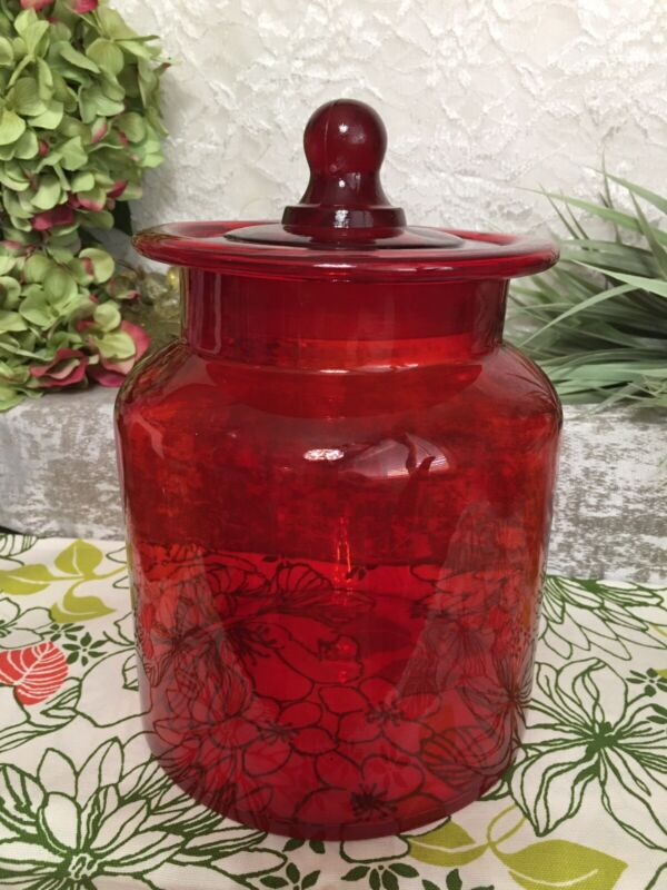 """Vintage  RED BLOWN GLASS TAKAHASHI APOTHECARY JAR CANISTER BALL DOME LID 10"""" MCM"""
