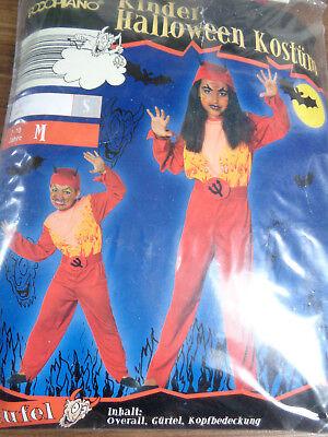 Karneval Kostüm Fasching Anzug Teufel 3 Teile Hut Overall 7-10 Jahre 128/134/140