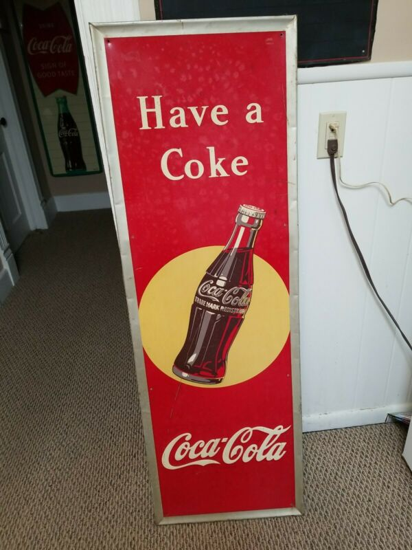 Vintage Early Coca Cola Soda Pop Metal bottle  embosse Sign Coke 54X18 Rare