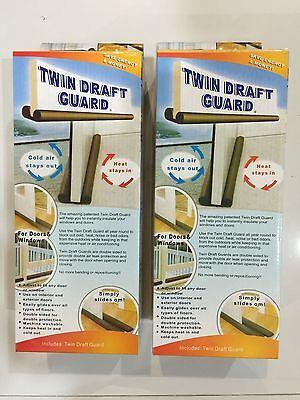 2 BOX Twin Door Draft Dodger Guard Stopper For Doors Windows Protector Doorstop