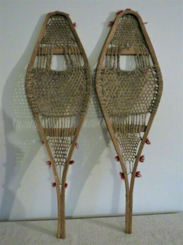 Antique Primitive Early American Rawhide Snowshoes with Pompoms 10x33