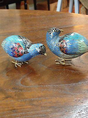 Vintage Pair Of Cloisonné Copper Enamel Quails/Partridge Figurines