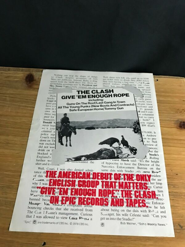 1979 VINTAGE 8X11 ALBUM PROMO PRINT AD FOR THE CLASH GIVE