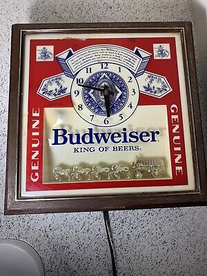 Budweiser Wall Clock Lighted Beer Sign Clydesdales Horses Vtg