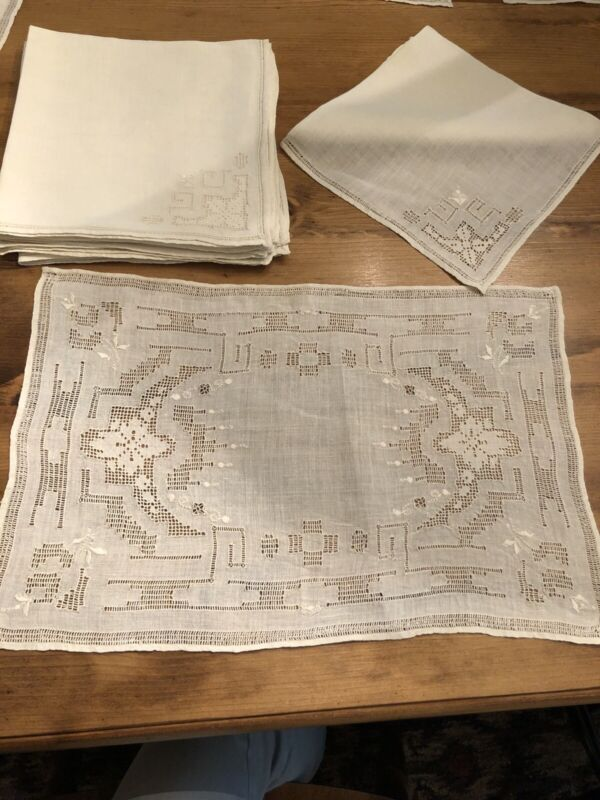17 Piece Antique Hand Sewn Linen Placemats Napkins And Table Runner