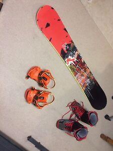 Snowboard, boot, binding setup