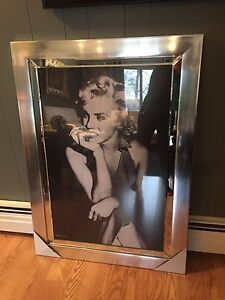 Beautiful Large Marilyn Monroe Chrome-Framed Artwork