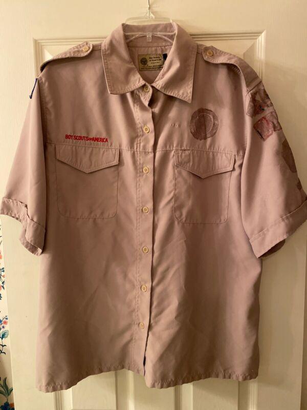 Vented Boy Scout BSA UNIFORM SHIRT Women's 1X Poly New Style Short Sleeve #6