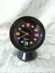 UNIQUE FUN - vintage retro CLOCK - BLING is in - Rinestones on black background