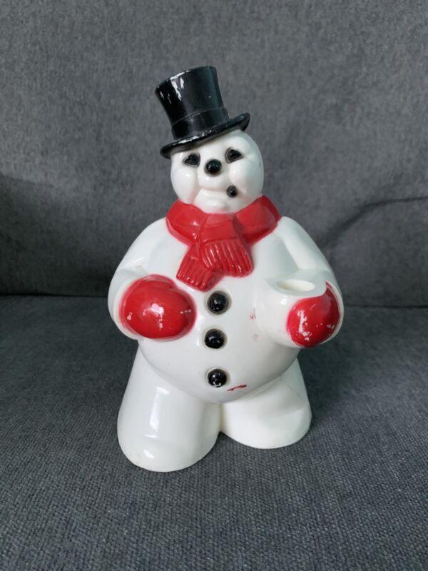Vtg Rosbro Plastic Snowman Candy Decoration Christmas Holiday