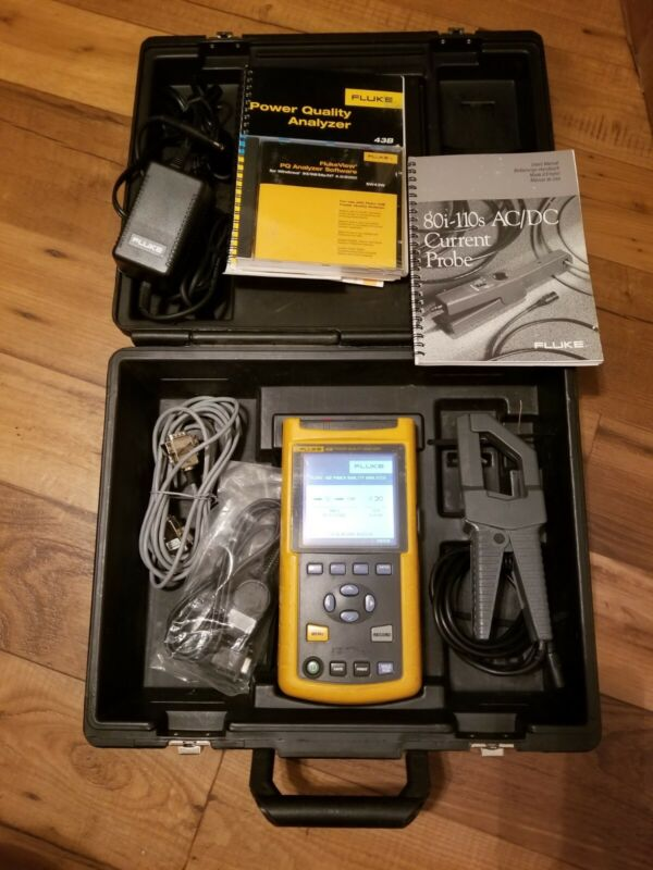 Fluke 43B Single Phase Power Quality Analyzer NIST Calibrated 1 Current Probe