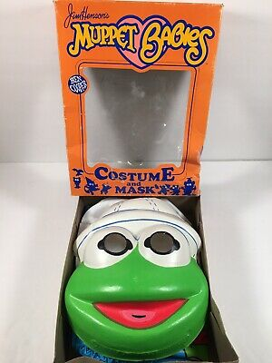 Jim Henson Halloween Costumes (Vintage Jim Henson Baby Kermit Kid's Halloween Mask & Costume  Original)