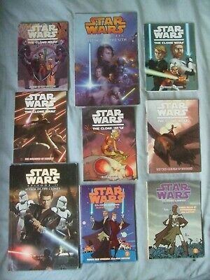 Star Wars - 9 Graphic Novels - 7 Pocket Sized Clone Wars, 2 Movie Adaptations