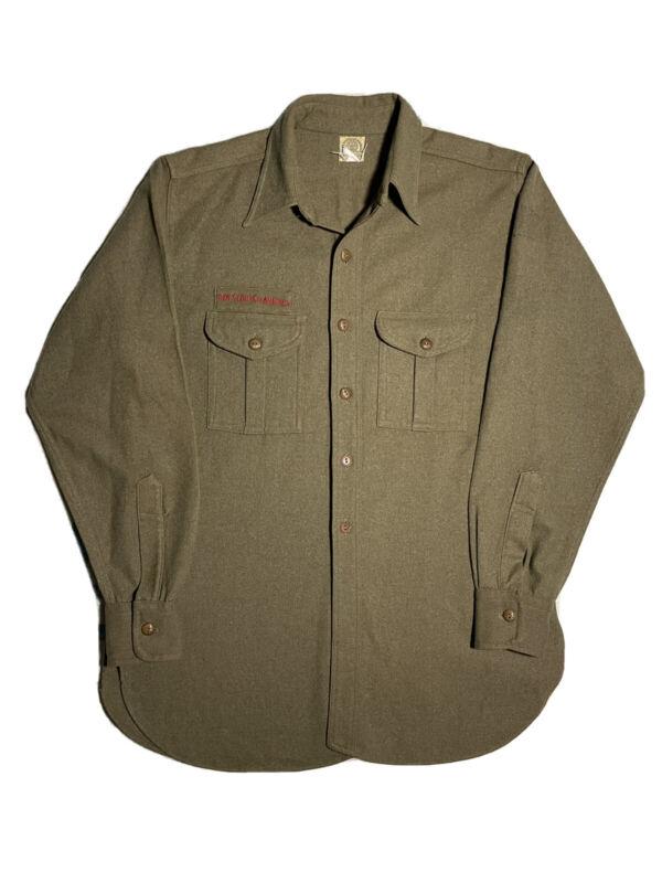 Vintage 1940s Boys Scouts of America Official Uniform Wool Work Shirt Sz M/L BSA