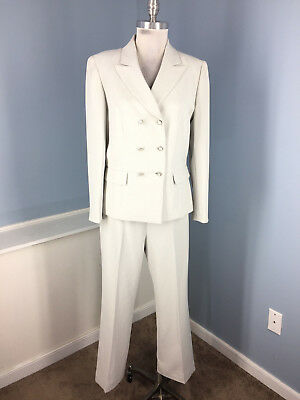 Kasper 10 Light Gray Pant Suit Career Cocktail Excellent double breasted
