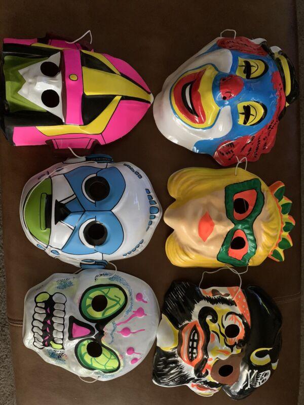 Vintage 1970s-80s Plastic Halloween Masks Lot of 6