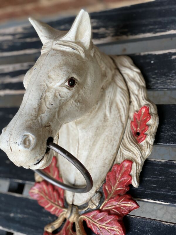 Mid-Century / Antique Cast Iron / Horse Head Bust / Hitching Post Top Ring