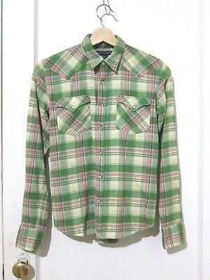 Ralph Lauren Green Pink Plaid Checker Slim Fit Snap Front Shirt 100% Cotton Sz 6 Pink Plaid Checker