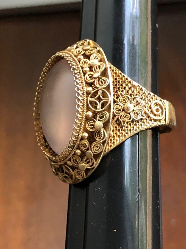 Antique Chinese Export Silver Cabuchon Rose Quartz Adjustable Ring Filigree