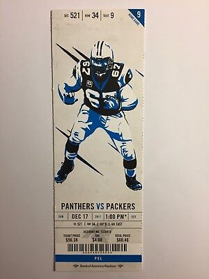 CAROLINA PANTHERS VS GREEN BAY PACKERS DECEMBER 17, 2017 TICKET STUB ()