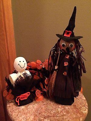 Set lot 3 Halloween decoration pumpkin garland handmade vintage witch ghost cute