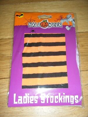 WOMENS PAIR OF ORANGE STRIPED STOCKINGS BN WITCH HALLOWEEN FANCY DRESS - Witch Couple Costume