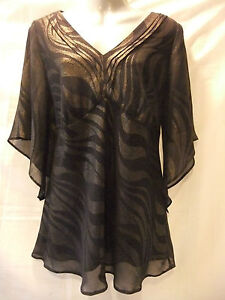 LADIES NEW Roman Originals 14 BLACK CHIFFON/LUREX SPARKLES/EMPIRE/SH-SLEEVE TOP