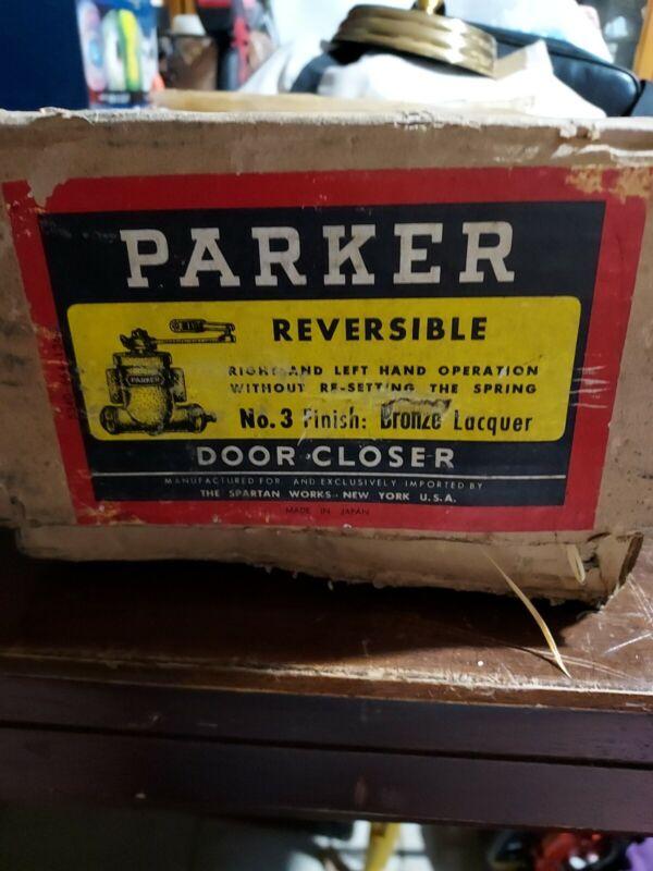 VINTAGE PARKER MODEL # 3 REVERSABLE DOOR CLOSER BRONZE.LAQUER New old stock