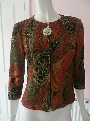 JOSEPH RIBKOFF TREND RED & BLACK ZIPPED FRONT TOP SIZE UK 10