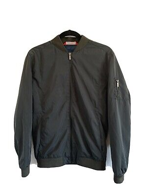 Zara Man Basic Mens Olive Green Bomber Jacket Size Medium