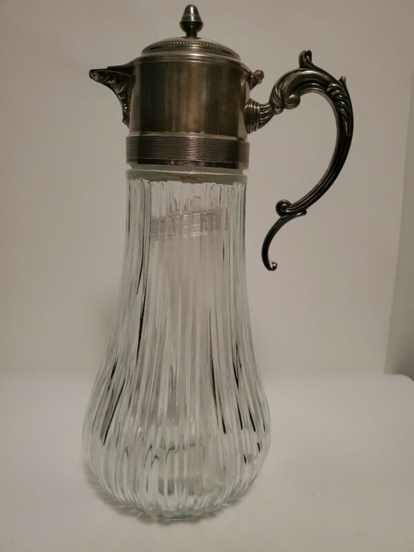 Vintage Silver-plated Tall Carafe, Decanter,  Water Pitcher. Italy