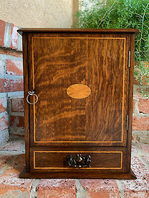 Antique English INLAID Tiger Oak Pipe Smoke Cabinet Game Box Humidor Copper