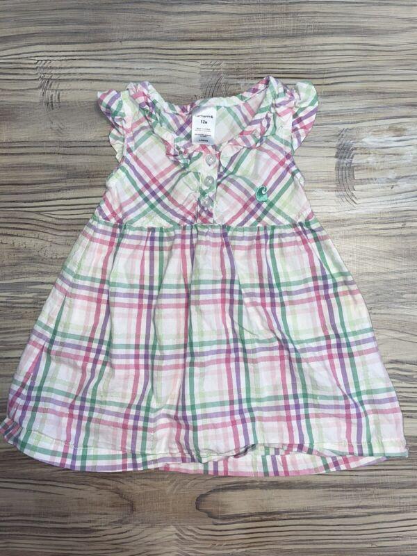 Carhartt Baby Girls Plaid Jumper Dress Sz 12 Months