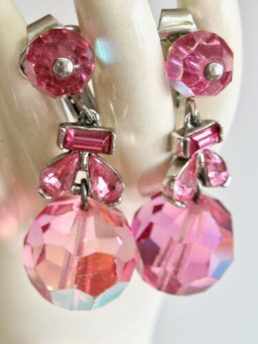 VINTAGE CROWN TRIFARI PINK AURORA BOREALIS AB GLASS BEAD RHINESTONE EARRINGS