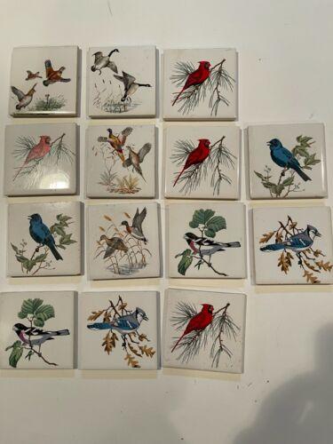 "14 vintage Art Tiles - birds - 3"" square; see desc of birds"