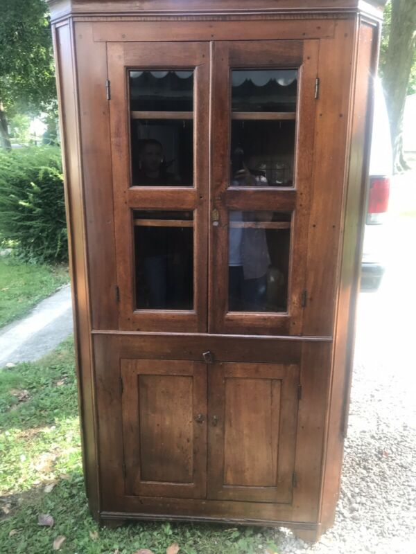 Beautiful Early 4 Paned & Blind Doors Walnut Antique Corner Cupboard